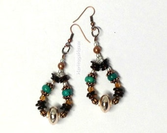 3.3 inches Long Gorgeous Beaded Earrings Turquoise Rose GOld Plated Copper Shell Dangle Drop -- 80 mm long -- ER-BEAD-12