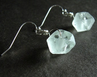 Mint Green Earrings, Upcycled Jewelry, Recycled Glass Jewelry, Sterling Silver Hooks, Gifts Under 15