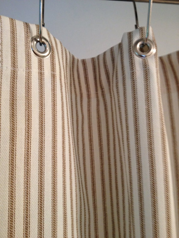 Ticking Stripe Shower Curtain Black Brown Grey Navy Blue