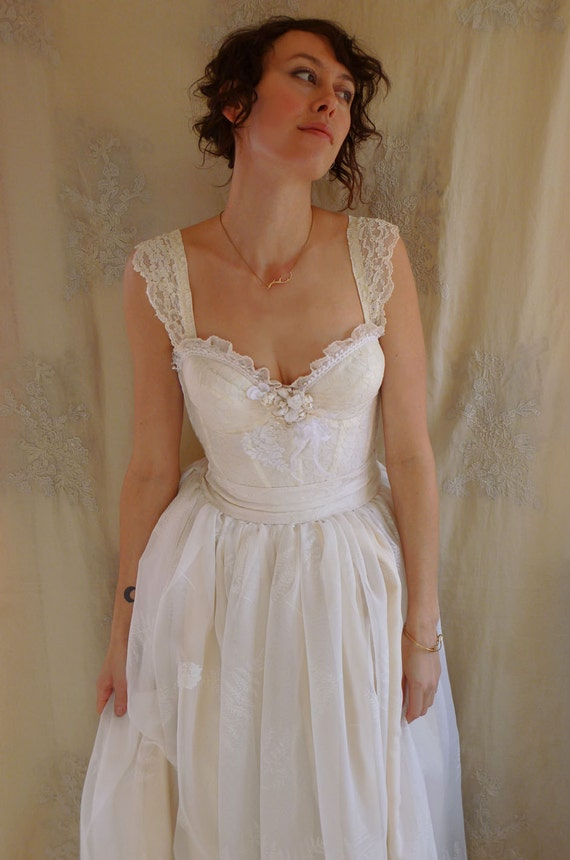 Reserved Fern Bustier Wedding Gown Whimsical Dress Woodland