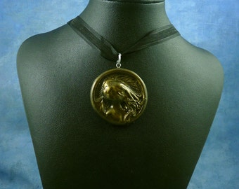 Antique Gold Cthulhu Cameo Necklace, Polymer Clay Jewelry
