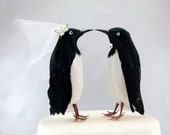 Penguin Wedding Cake Topper: Funny, Unique Winter Bride and Groom Love Bird Cake Topper -- LoveNesting Cake Toppers