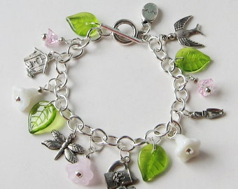 SALE Charming Garden Charm Bracelet Glass Beads Toggle Clasp Mother's Day Friend