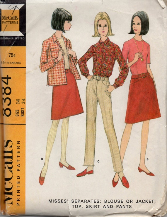 mccalls 8384 1960s misses mod blouse jacket top skirt and