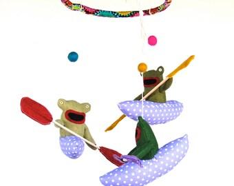 Kayaking Frogs Baby Mobile