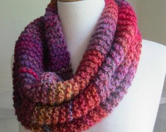 Knit Cowl--Pink, Violet, Orange