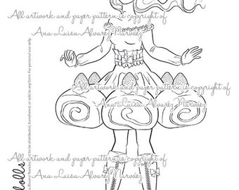 Digital Stamp - coloring page Sweet dolls - Roll cake girl