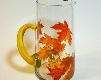 Modern Hand Painted Glass Pitcher with Autumn Leaves