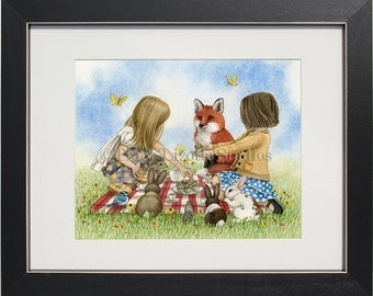 Playtime Tea Party - archival watercolor print by Tracy Lizotte