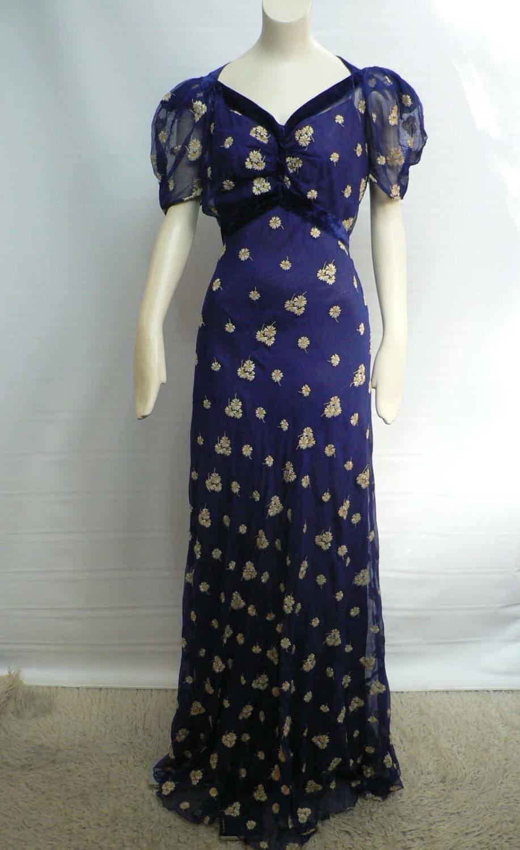 1930s Blue Silk Chiffon Floral Print Gown 30s Dinner Dress