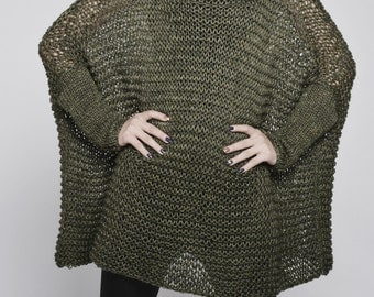 OVERSIZED Woman sweater/ Knit sweater in Dark Fall Green - ready to ship