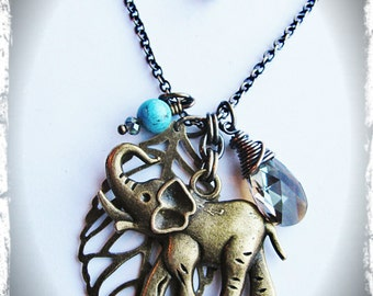 Lucky Elephant Necklace- Antique Brass Elephant, Bronze Swarovski Crystal, Brass Leaf, Turquoise Magnesite