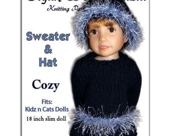 Knitting Pattern fits Kidz n Cats Dolls. Sweater and Hat  Instant Download 454