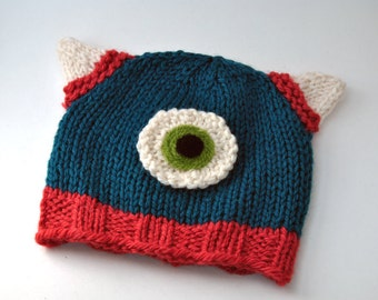 Wool Baby Monster Hat, Teal or Design Your Own Colour, Beanie