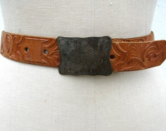 Vintage tooled leather belt w/ ornate silver buckle // Western // Hippie