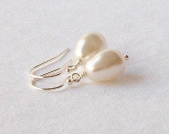 White Pearl Drop Earrings Wedding Jewelry