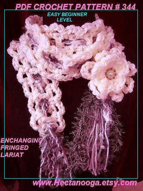 Crochet Patterns, scarf, ENCHANTING LARIAT. #344, crochet pattern flower included , Easy Beginner level, ok to sell your finished lariats.