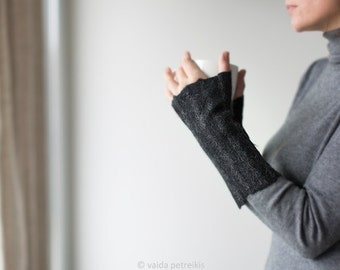 Felted fingerless gloves Wool mittens Felt arm warmers in black gray with delicate stripes Warm cuffs Gift for her made by Vaida Petreikis