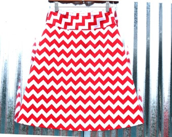 Red Chevron A-line skirt, Chevron Skirt, Riley Blake Chevron Red Medium, women's sizes 2-24