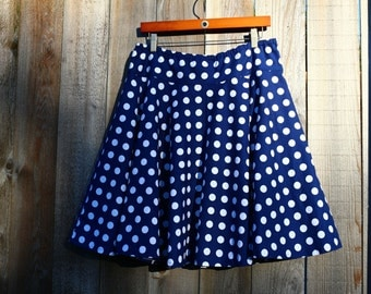 Navy Blue and White Polka Dot skirt, Full Circle Skirt, Pin Up, Nautical, woman's, a line, Skirt, women's size 2-26