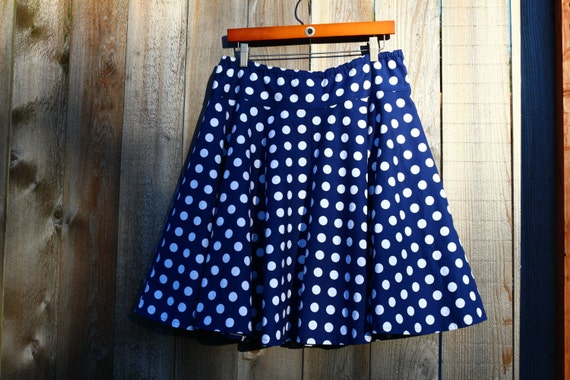 navy blue and white polka dot skirt circle by