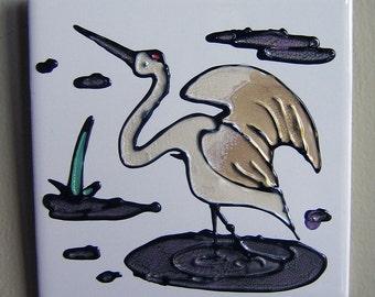 Hand Painted Tile Art - Crane - Decorative Art Tile