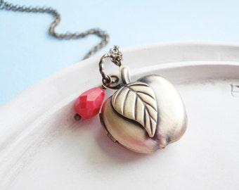Apple Locket Necklace - Teacher Gift Student Jewelry