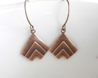 Drop Earrings - Simple Brass Earrings Chevron Military