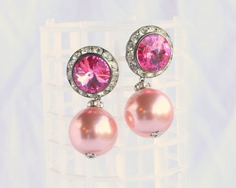Pink Pearl Rhinestone Earrings Pierced Vintage Rivoli Rhinestone 1950s Dangle Drops Wedding Prom