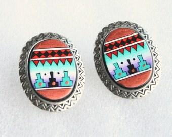 1980s Southwestern Earrings Pierced Vintage Enamel Antiqued Silver Ovals Teal Purple Copper
