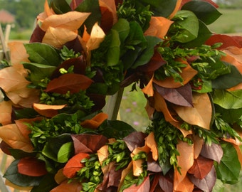 Fall Salal and Boxwood Wreath, Preserved Fall Wreath, harvest wreath, fall leaves, autumn wreath, fall decor, harvest wreath