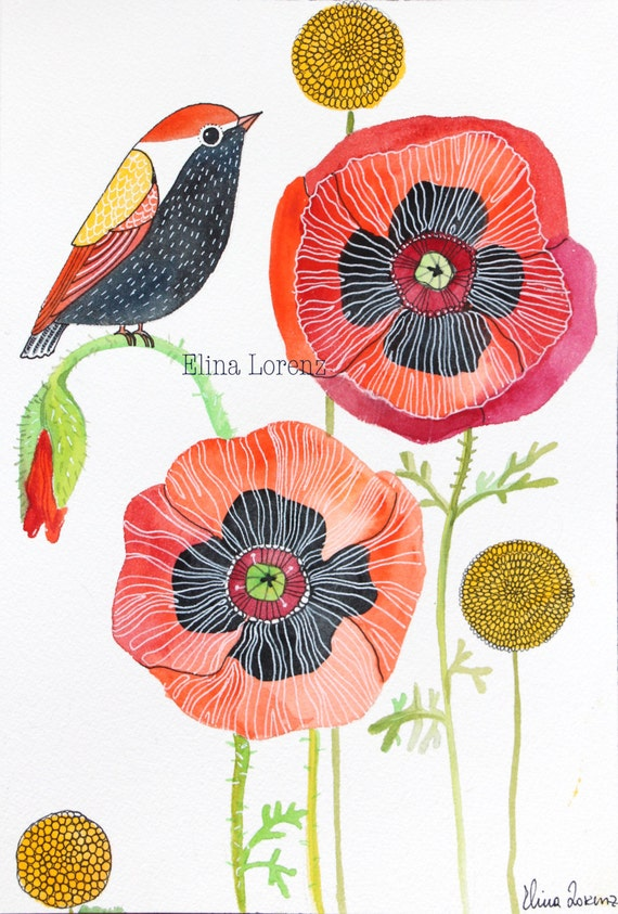 Wall Art Flowers And Birds : Original watercolor bird art wall room decor