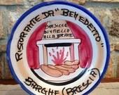RESERVED LISTING for FELICYA Vintage Italian Ceramic Solimene Vietri 1979 Buon Ricordo Restaurant Plate - Barche, Brescia