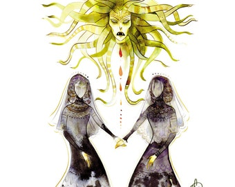 the gorgon sisters mourn medusa 8.5x11 print