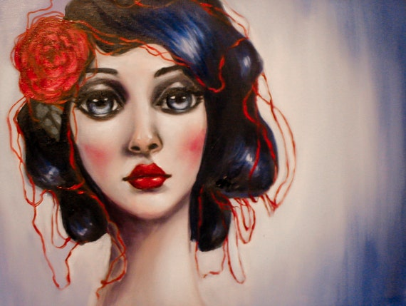 The Red Thread by Elizabeth Caffey. Surreal oil painting on stretched canvas.