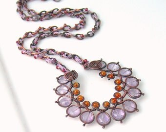 Amethyst and Citrine Pendant Necklace, Metalwork Focal with Natural Stones, Lavender and Golden, Deluxe Original Artisan Gift, One of a Kind