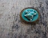Vintage Singing Ceramic Bird on Beautiful Brass Brooch