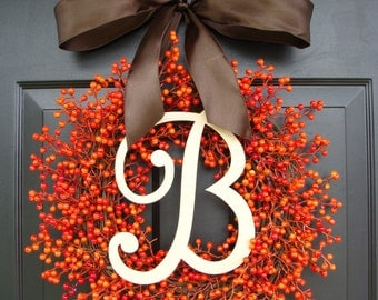 Fall Berry Wreath- Fall Wreath- Berry Monogram Wreath with Ribbon- Orange Pumpkin Wreath- WEATHERPROOF Berries