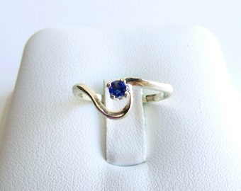 Blue Sapphire Ring Sterling Silver Swirl September Birthstone Made To Order