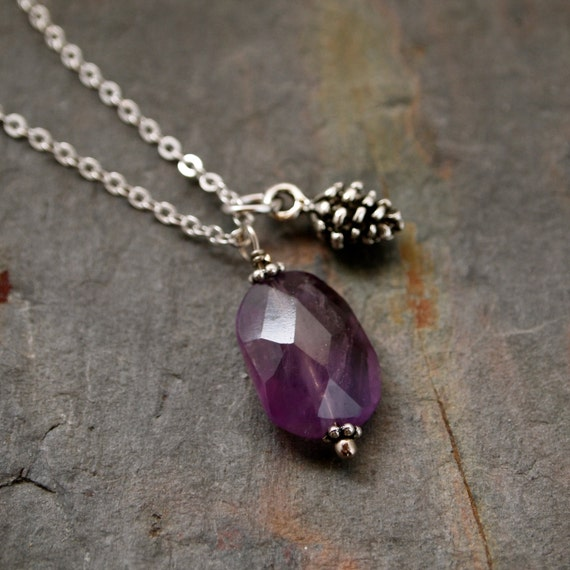 Rusttic Pine cone and Amethyst Necklace