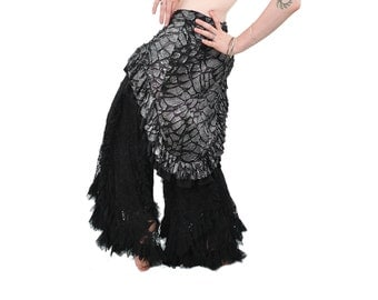 Belly Dance Hip Scarf  Hip Wrap - Silver Tattered - tribal fusion