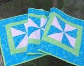 Spring Table Runner - Green and Blue Pinwheels - Long Table Runner
