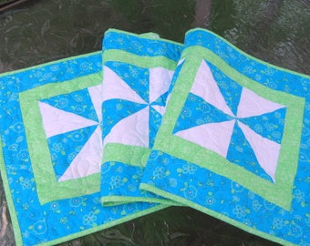 Spring Table Runner - Green and Blue Pinwheels - Long Table Runner