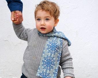 Organic Winter Scarf - Baby Boys EcoFriendly Kids Accessory - Indigo Blue Star Snowflakes Cotton Knit Tube Scarf (Ready to Ship)
