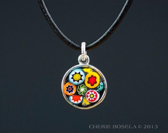 flower murano millefiori mosaic pendant necklace by