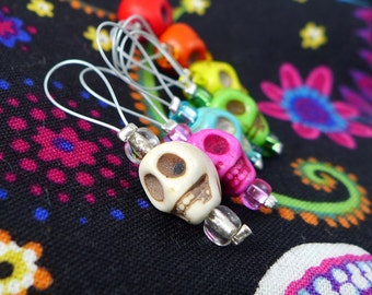 Day of the Dead - Seven Snag Free Stitch Markers - Fits Up To 6.0 mm (10 US) - Open Edition