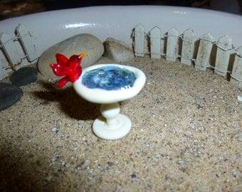 Fairy garden pedistal bird bath with your choice of colored bird - made to order