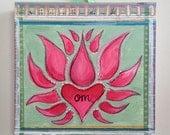 Om (Lotus)-Mounted Print of an Original Mixed Media Painting