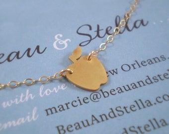Tiny Apple Necklace, Teacher Necklace, Apple Charm
