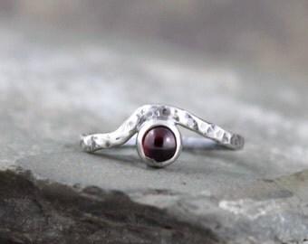 Garnet Wave Ring - Sterling Silver Garnet Ring - January Birthstone Rings - Red Gemstone Rings - Rustic Jewellery - Promise Friendship Ring